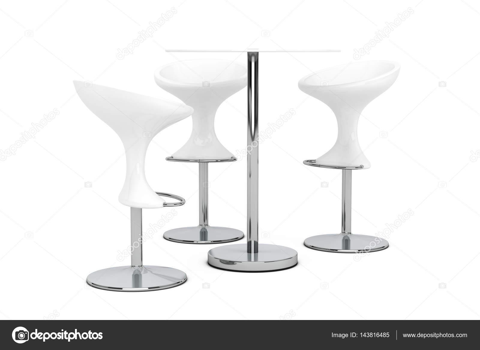 White bar sgabelli moderni con tavolo. rendering 3d u2014 foto stock