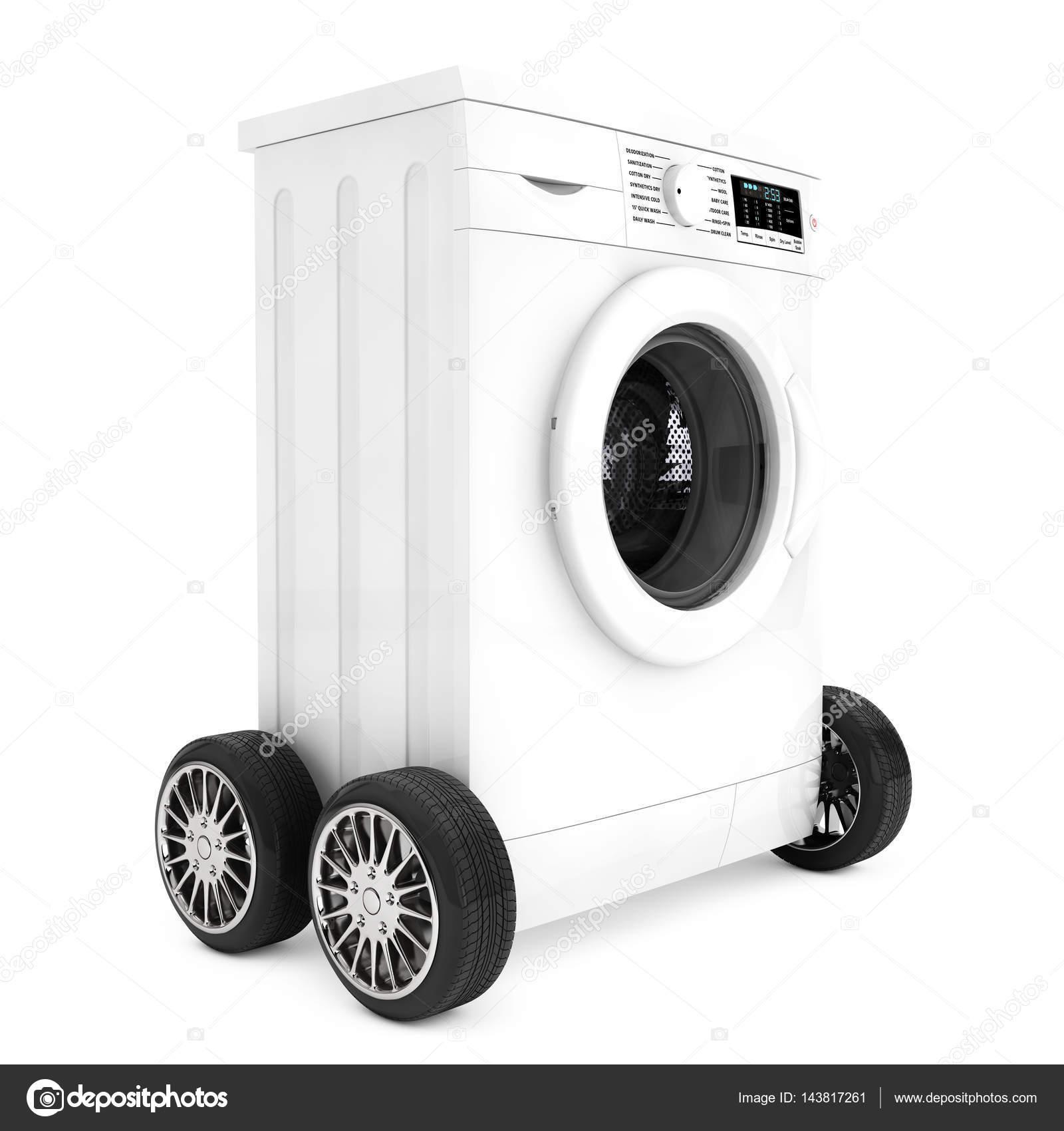 Moderne Waschmaschine moderne waschmaschine auf rädern 3d rendering stockfoto doomu