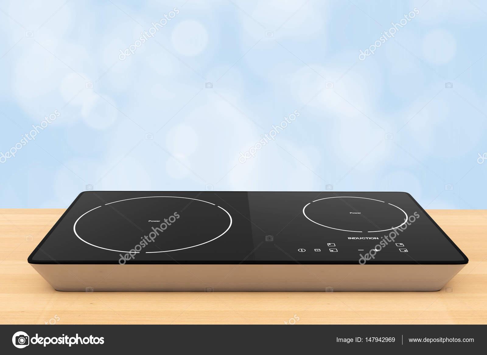 Estufa placa de inducción portátil móvil. Render 3D — Foto de stock ...