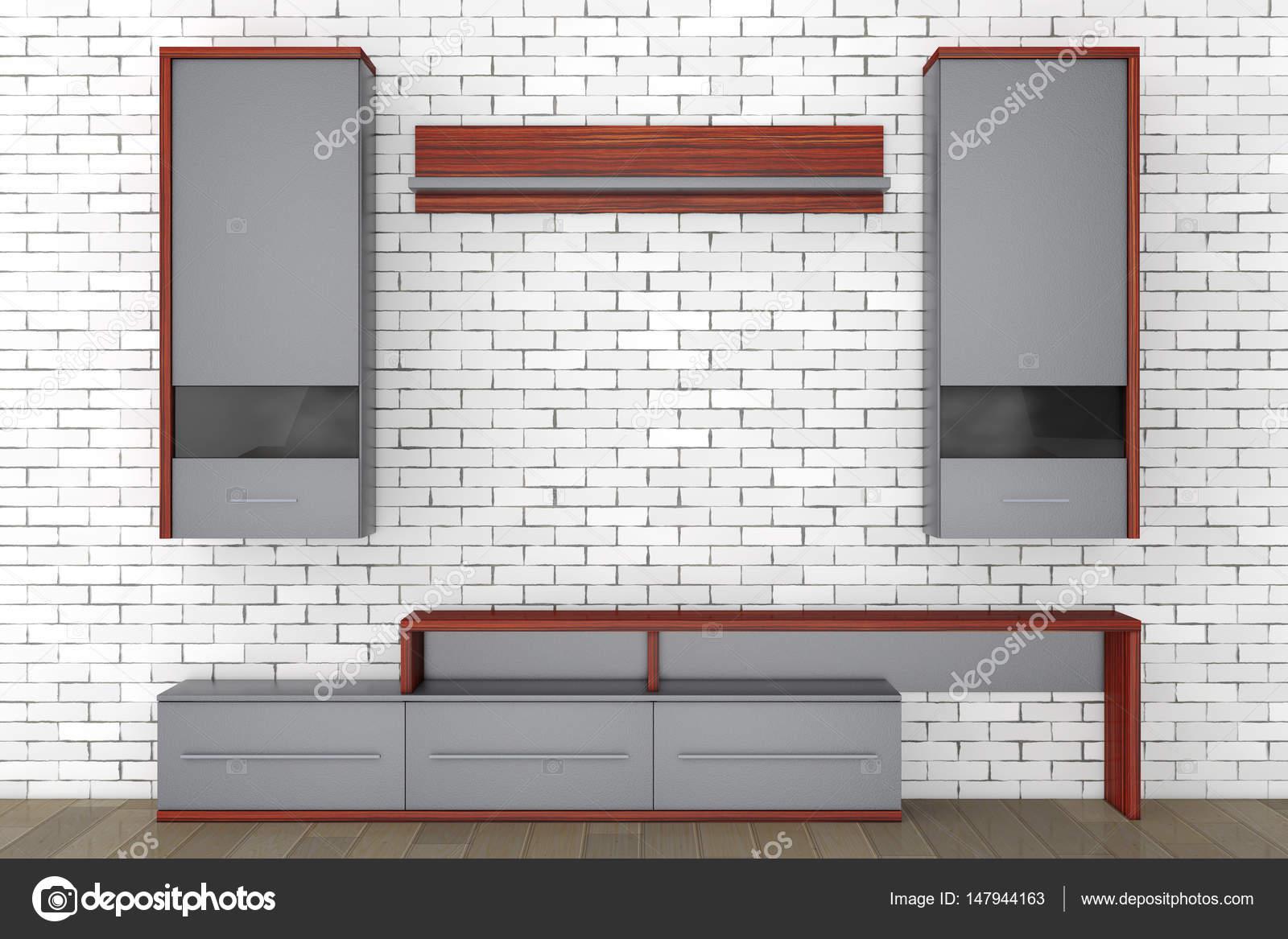 Moderne Wohnzimmer Wohnwand. 3D Rendering U2014 Stockfoto