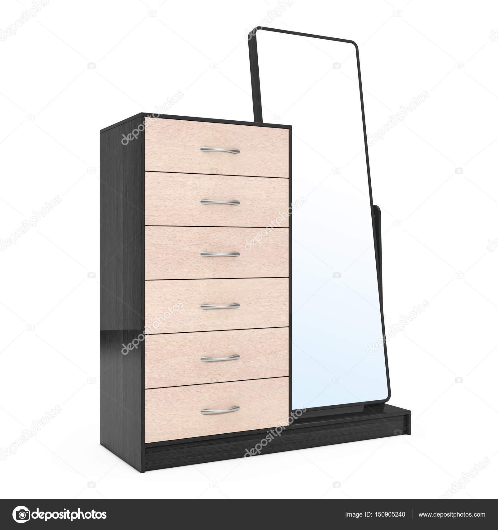 Moderne Houten Dressoir.Moderne Houten Dressoir Met Spiegel 3d Rendering Stockfoto