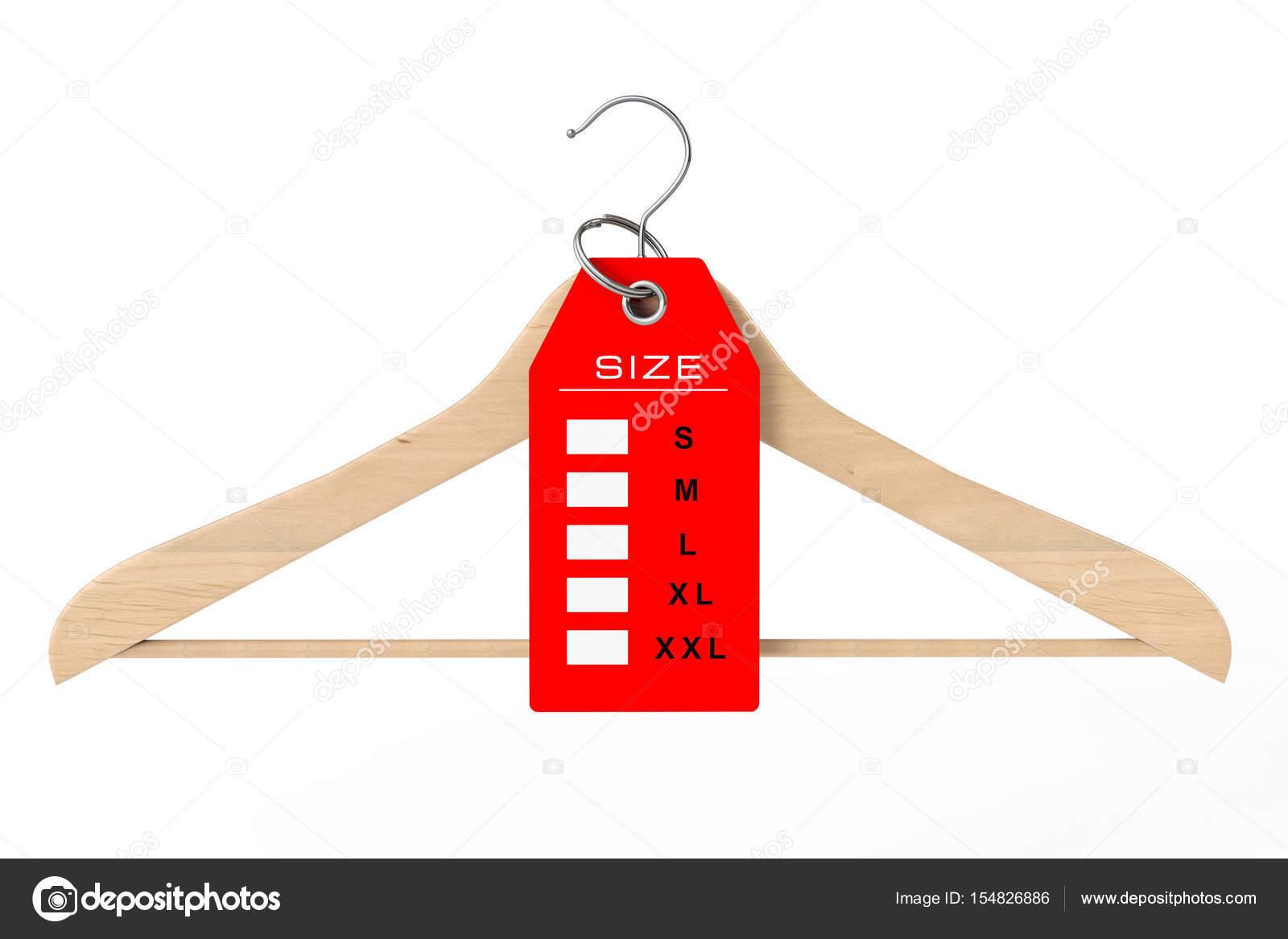 Fa vállfa és ruha címke méret-jel. 3D-leképezés — Stock Fotó © doomu ... 005bd9eb0a