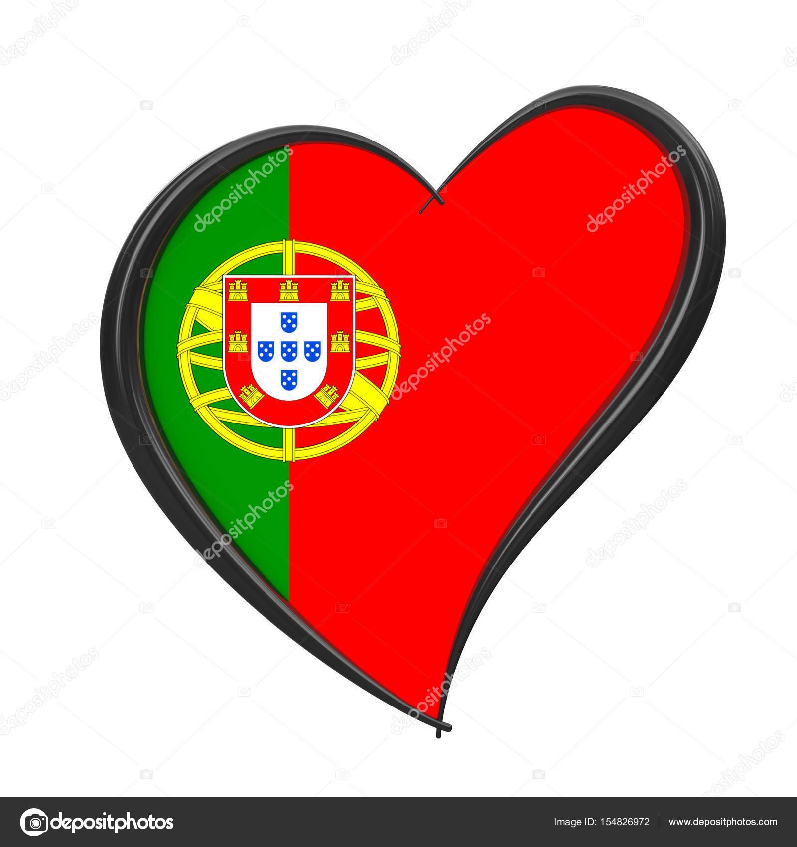 Bandeira de Portugal dentro do coração. Eurovision Song Contest 2018 no  porto — Fotografia de 590578840300f