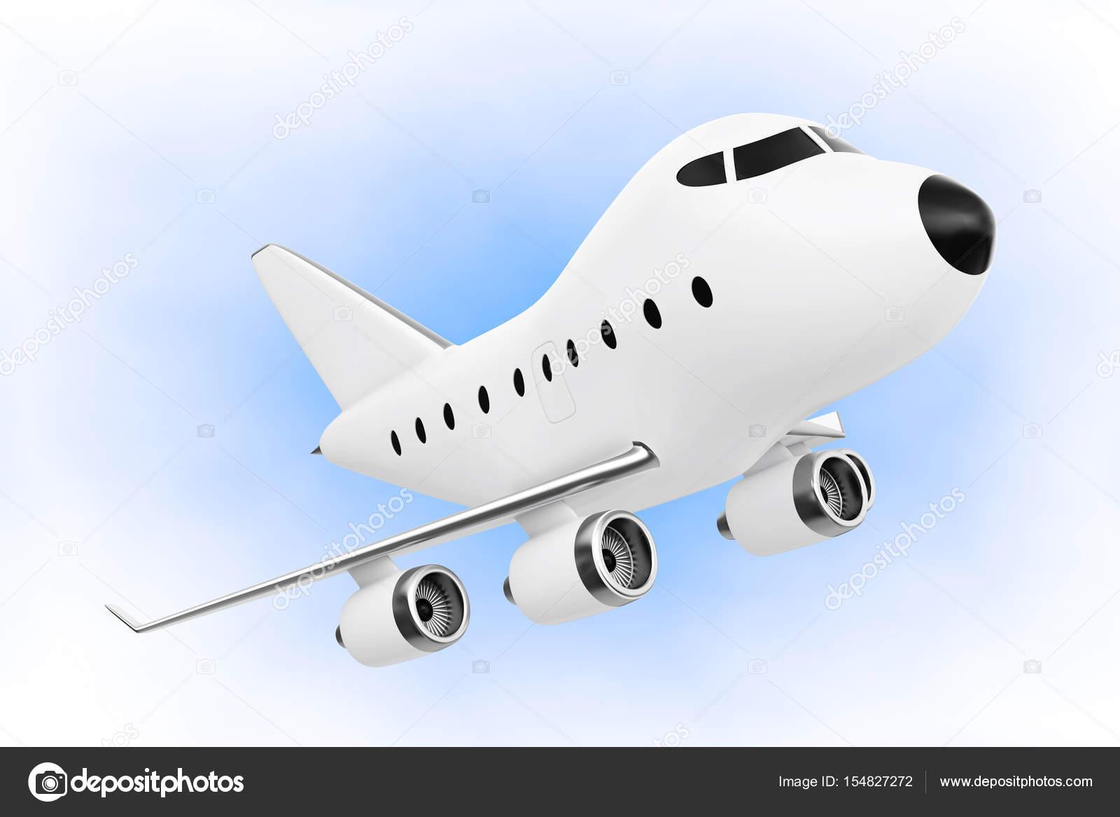 Dei cartoni animati giocattolo aeroplano del jet. rendering 3d