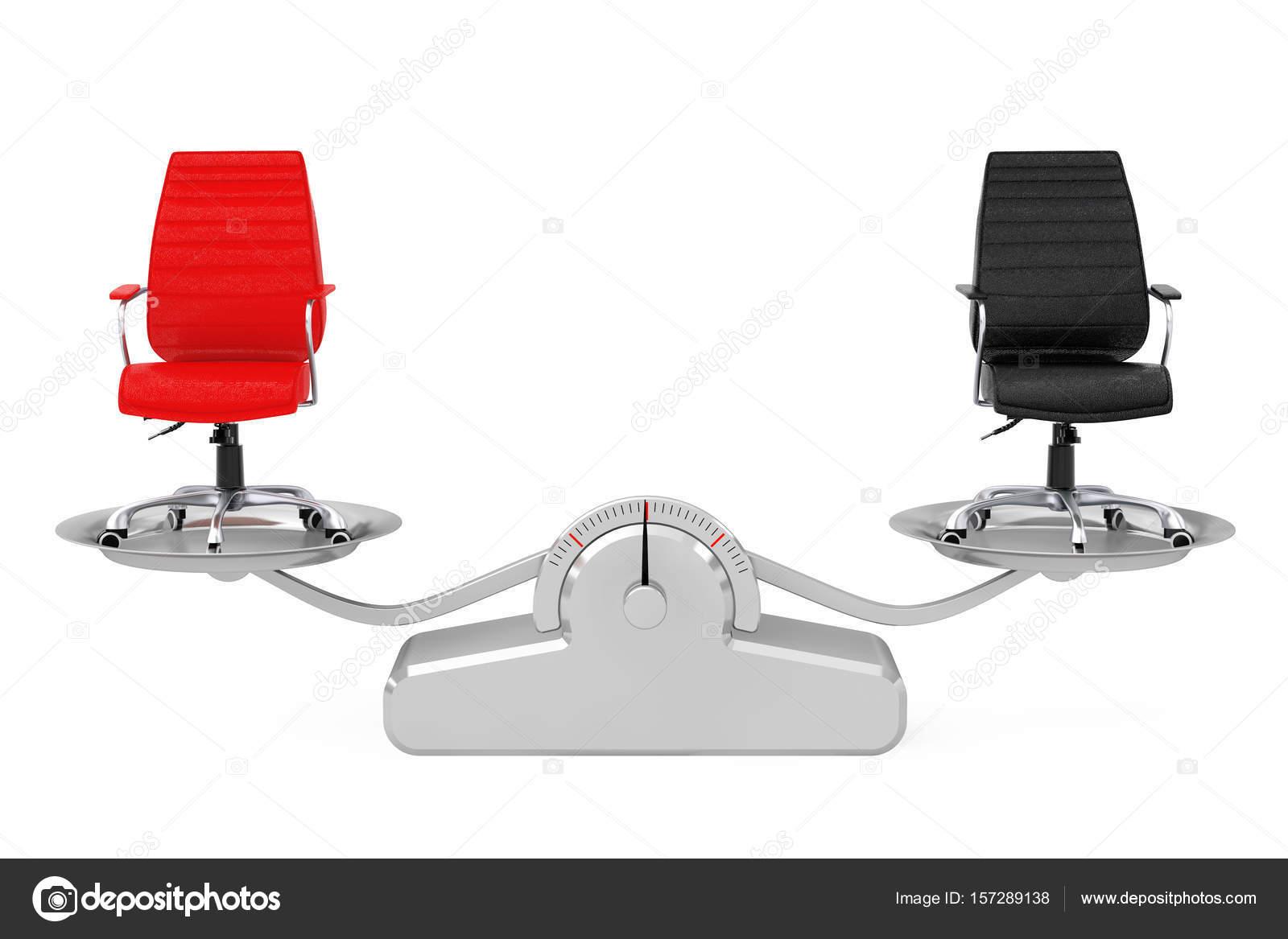 Chaises de bureau boss de cuir rouge et noir en équilibre sur un