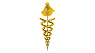 Health Care Concept. Golden Medical Caduceus Symbol Seamless Looped
