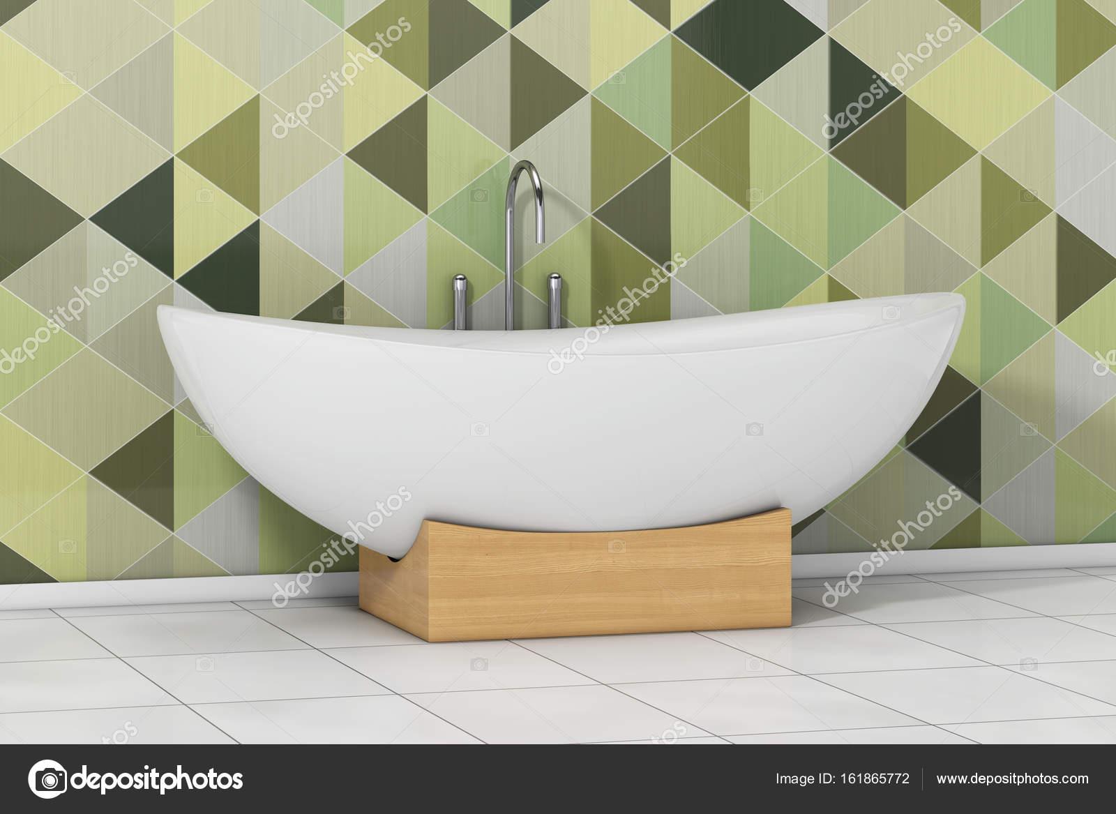 Moderne Blanc Baignoire Devant Geometrique Carreaux Vert Olive