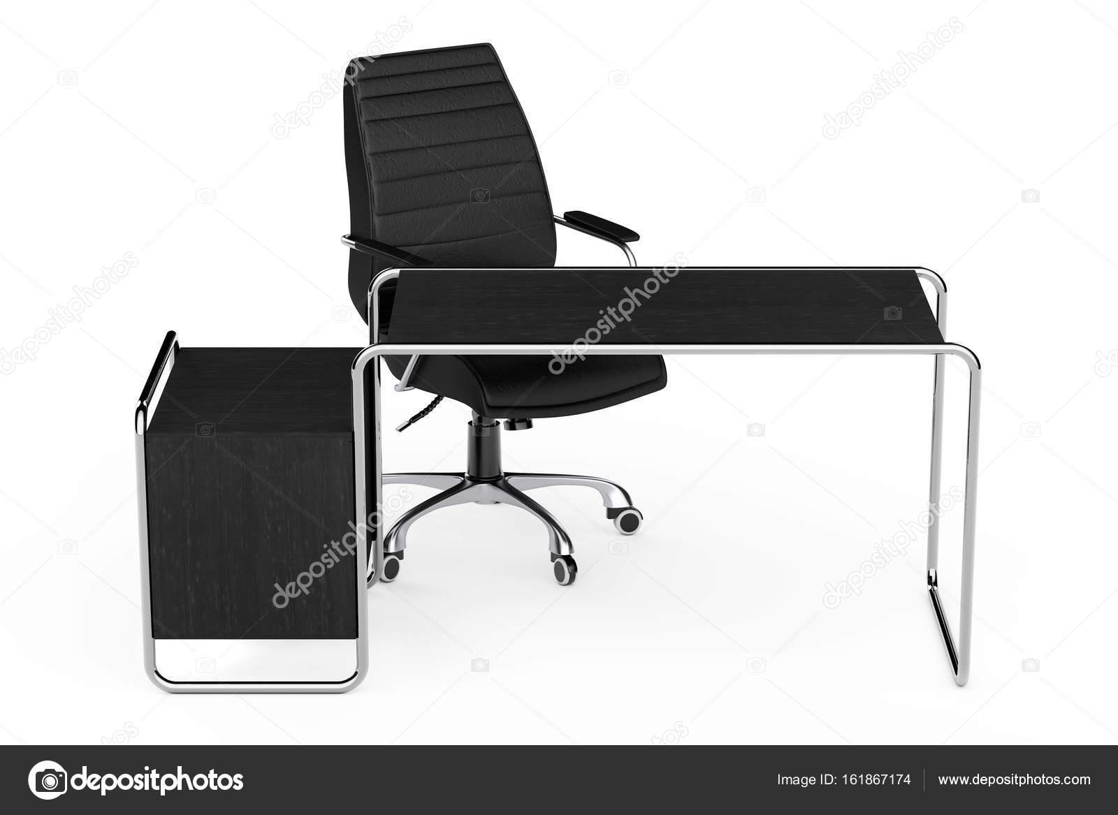 Grand bureau en bois vide moderne table avec tiroirs et le noir