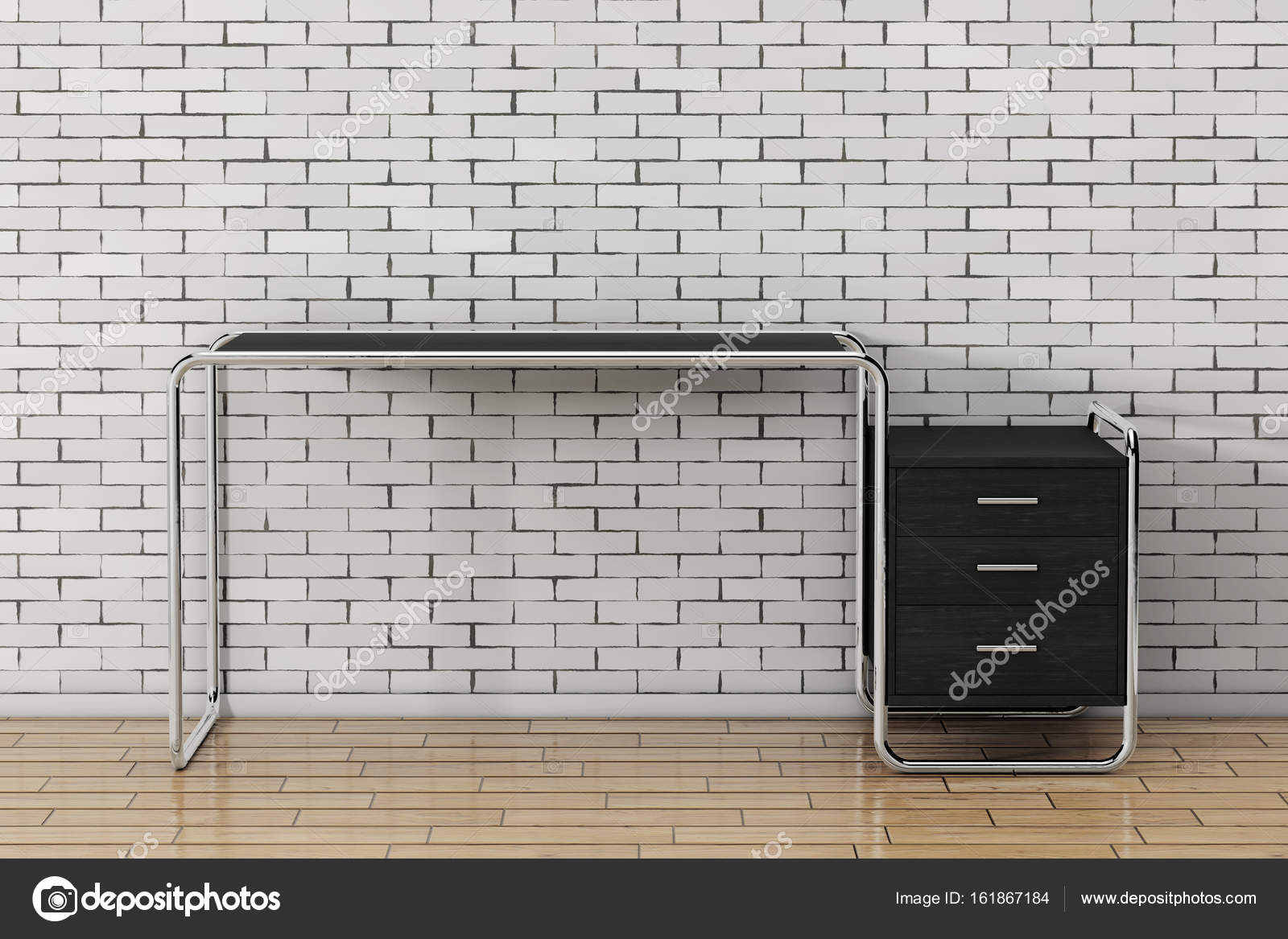 Grand bureau en bois vide moderne table avec tiroirs renderin d