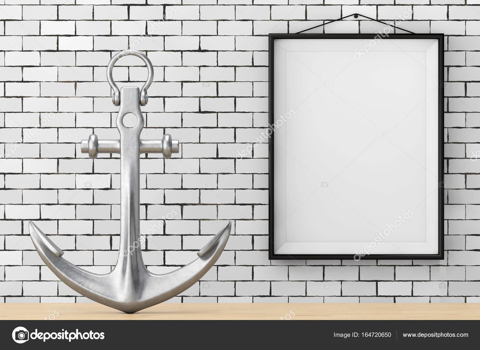 Nautische Anker vor Ziegelwand mit leeren Rahmen. 3D Rend ...