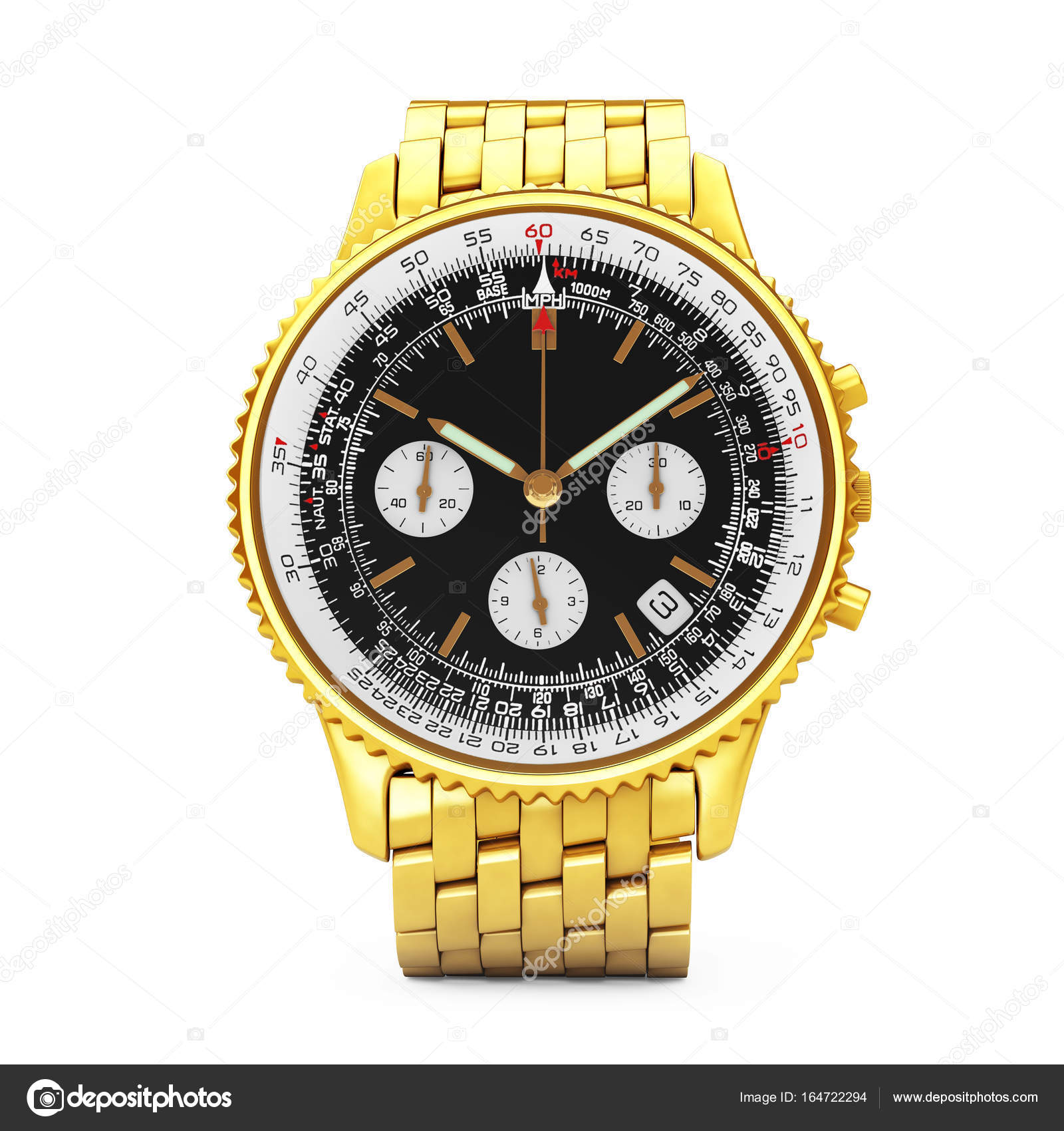 263e08e27cf Luxusní klasické analogové pánské zlaté hodinky na bílém pozadí. 3D  vykreslování — Fotografie od ...