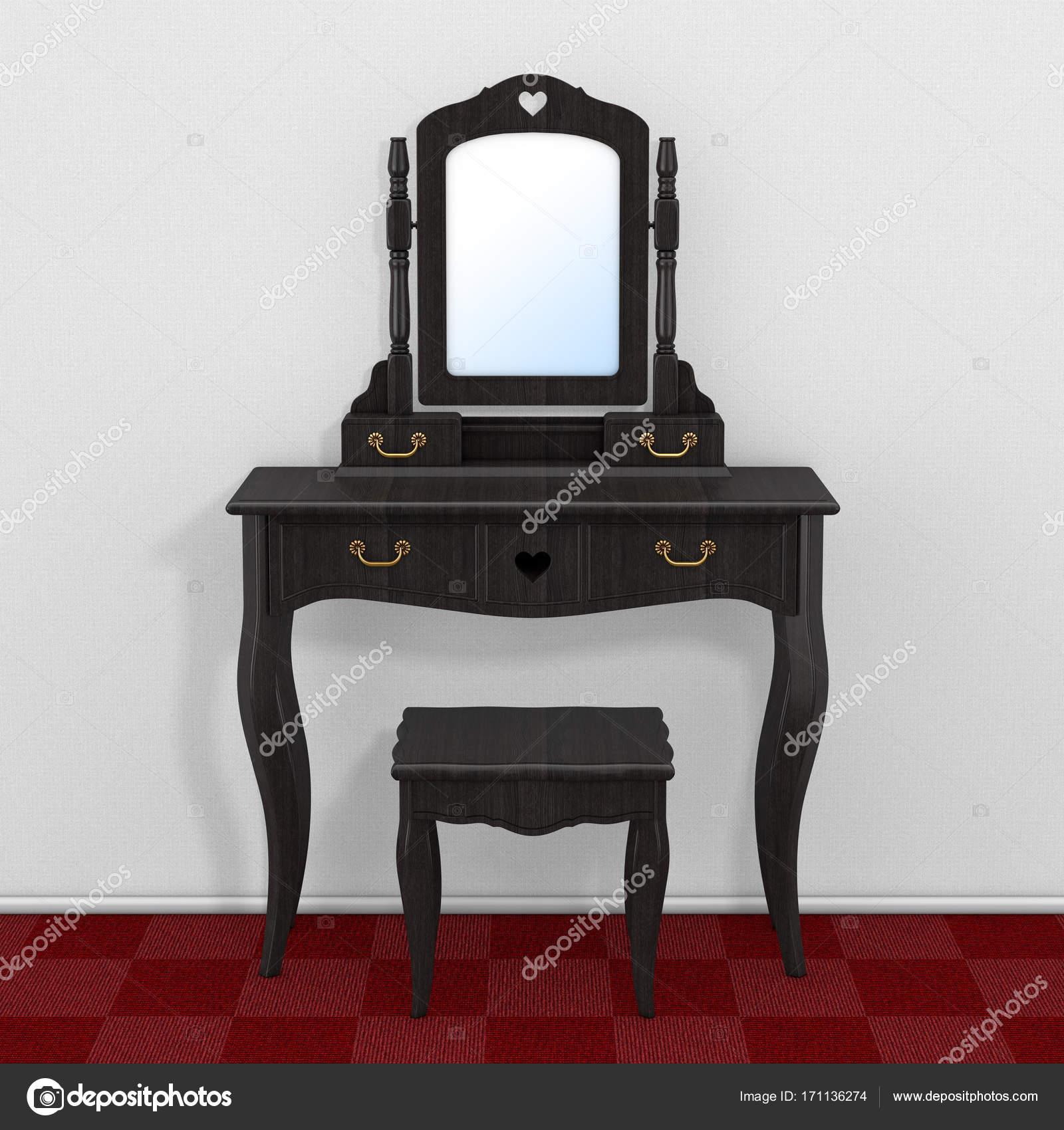 Chambre coucher antique coiffeuse avec tabouret et miroir dans la chambre avec photographie - Miroir dans la chambre ...