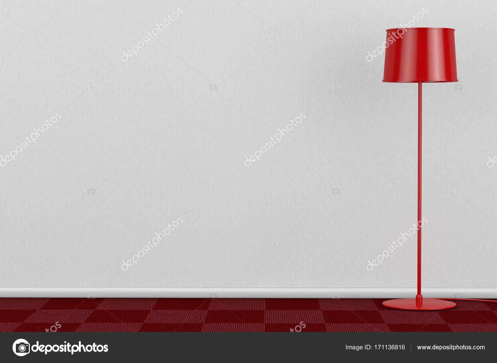 Rote moderne Stehleuchte in Raum mit roten Teppichboden und weiß Wa ...
