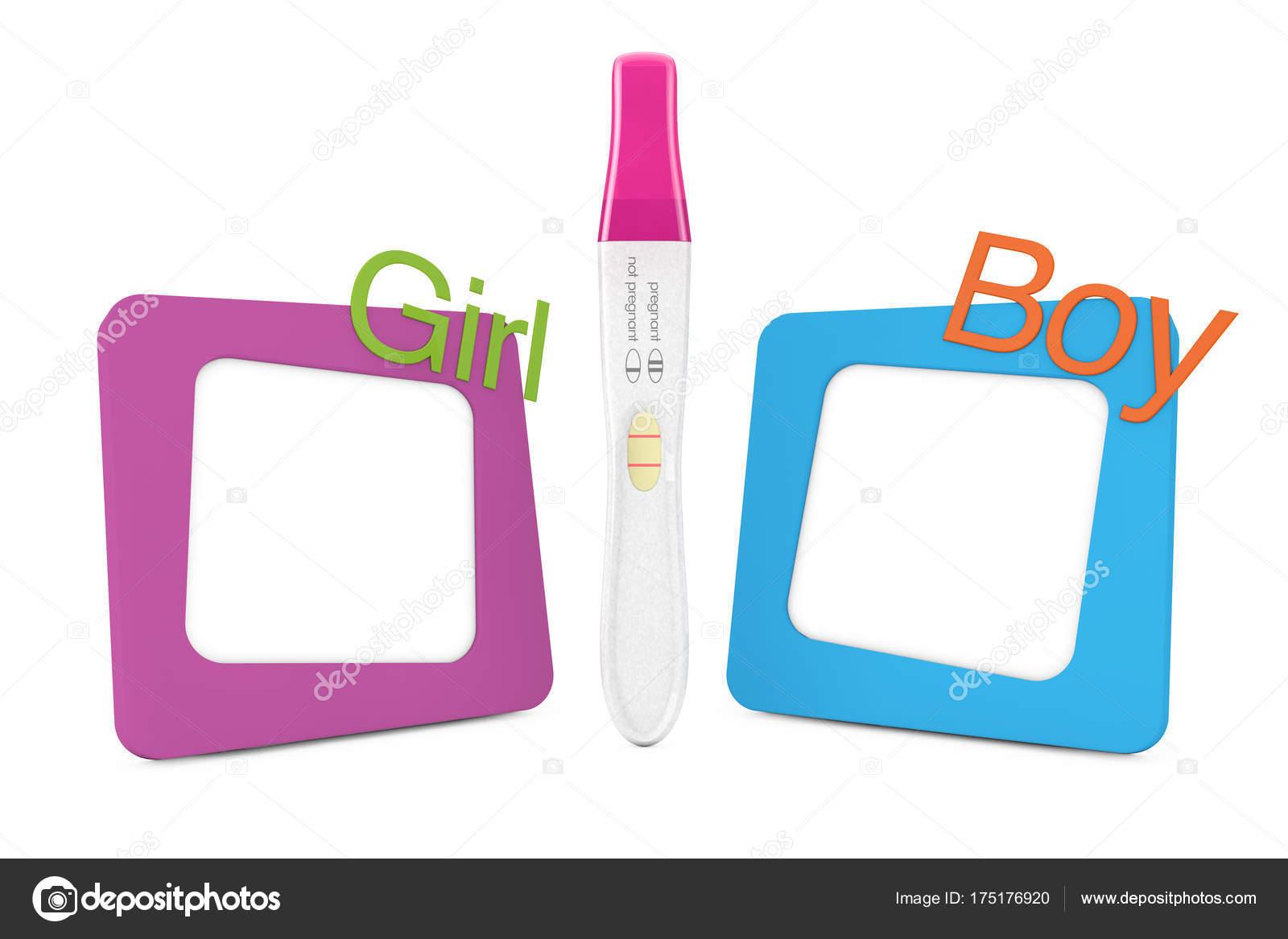 Positiven Kunststoff Schwangerschaftstest zwischen Bilderrahmen mit ...