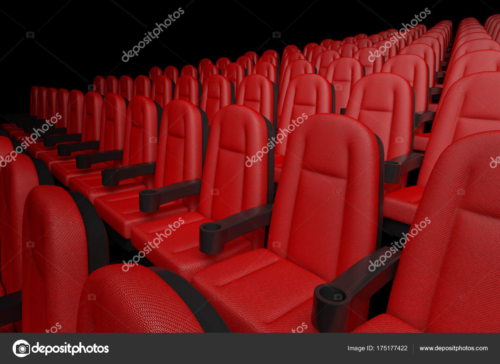 Rows of Red Cinema Movie Theater Comfortable Chairs  3d Renderin
