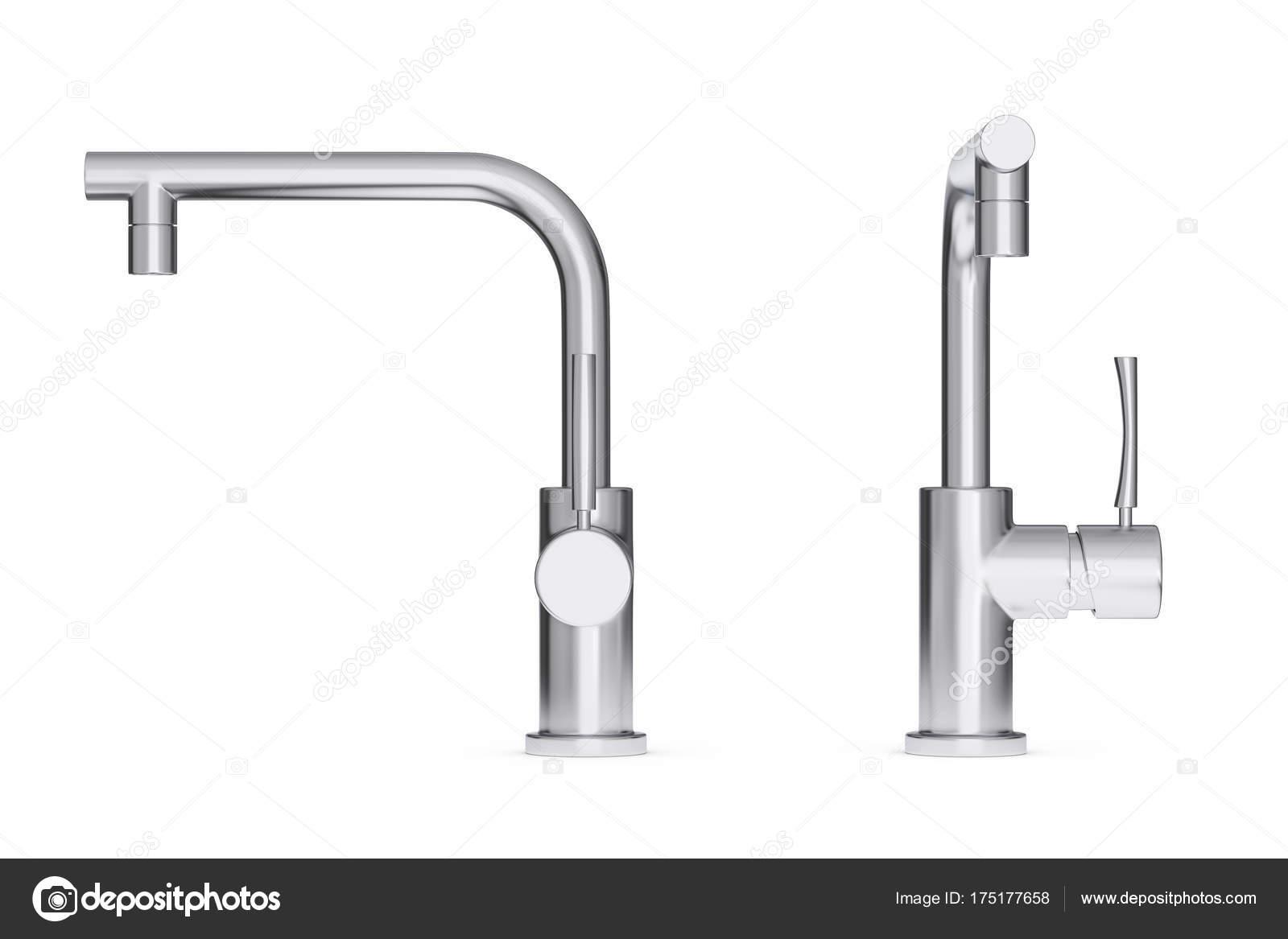 Moderni in acciaio inox cucina acqua rubinetto rubinetto. rendering