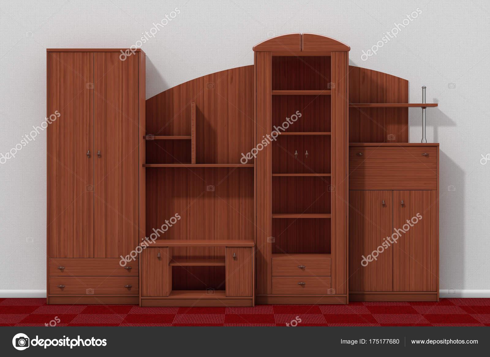 Mueble de sala de estar delante de la pared de blanco. Render 3D ...