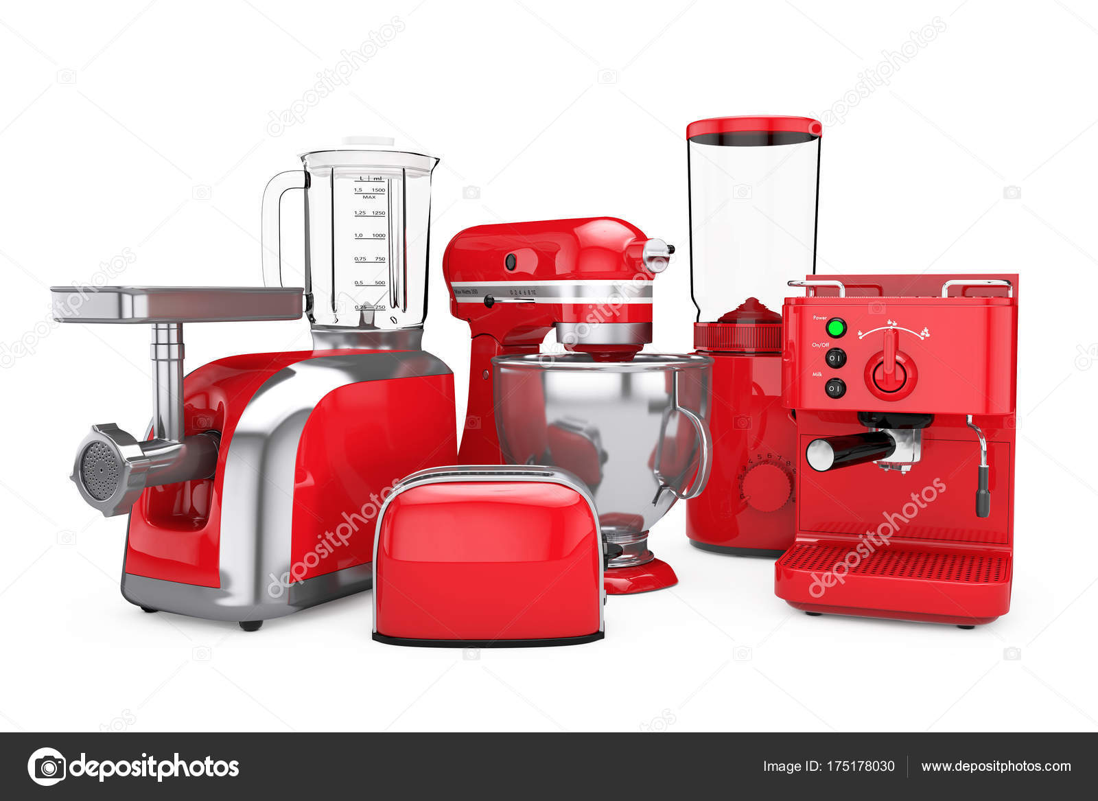 Kitchen Appliances Set Red Blender Toaster Coffee Machine Me