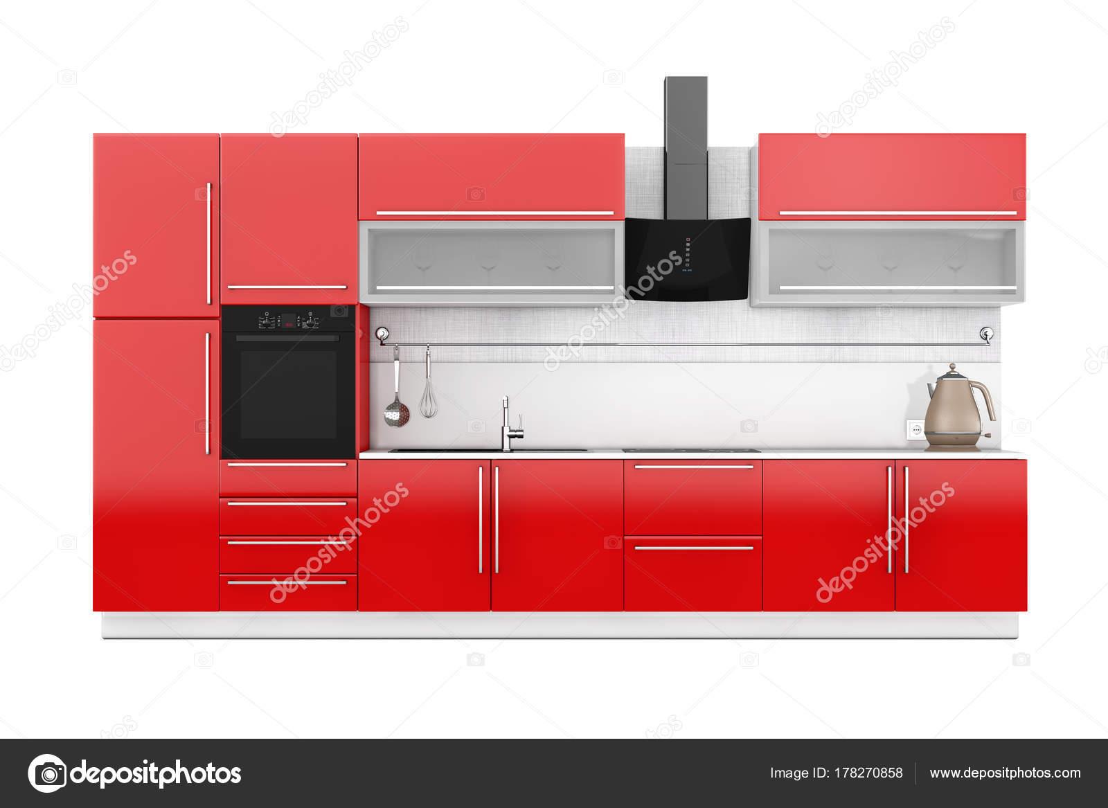 Muebles de cocina rojos con utensilios de cocina. Render 3D — Foto ...