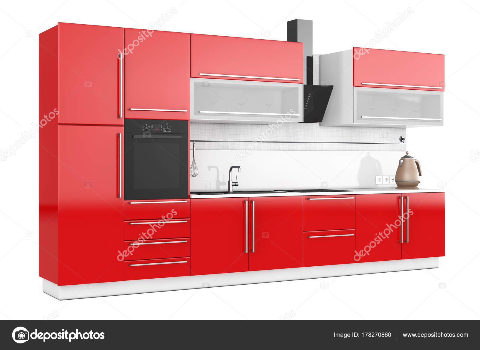 Muebles de cocina rojos con utensilios de cocina. Render 3D — Fotos ...