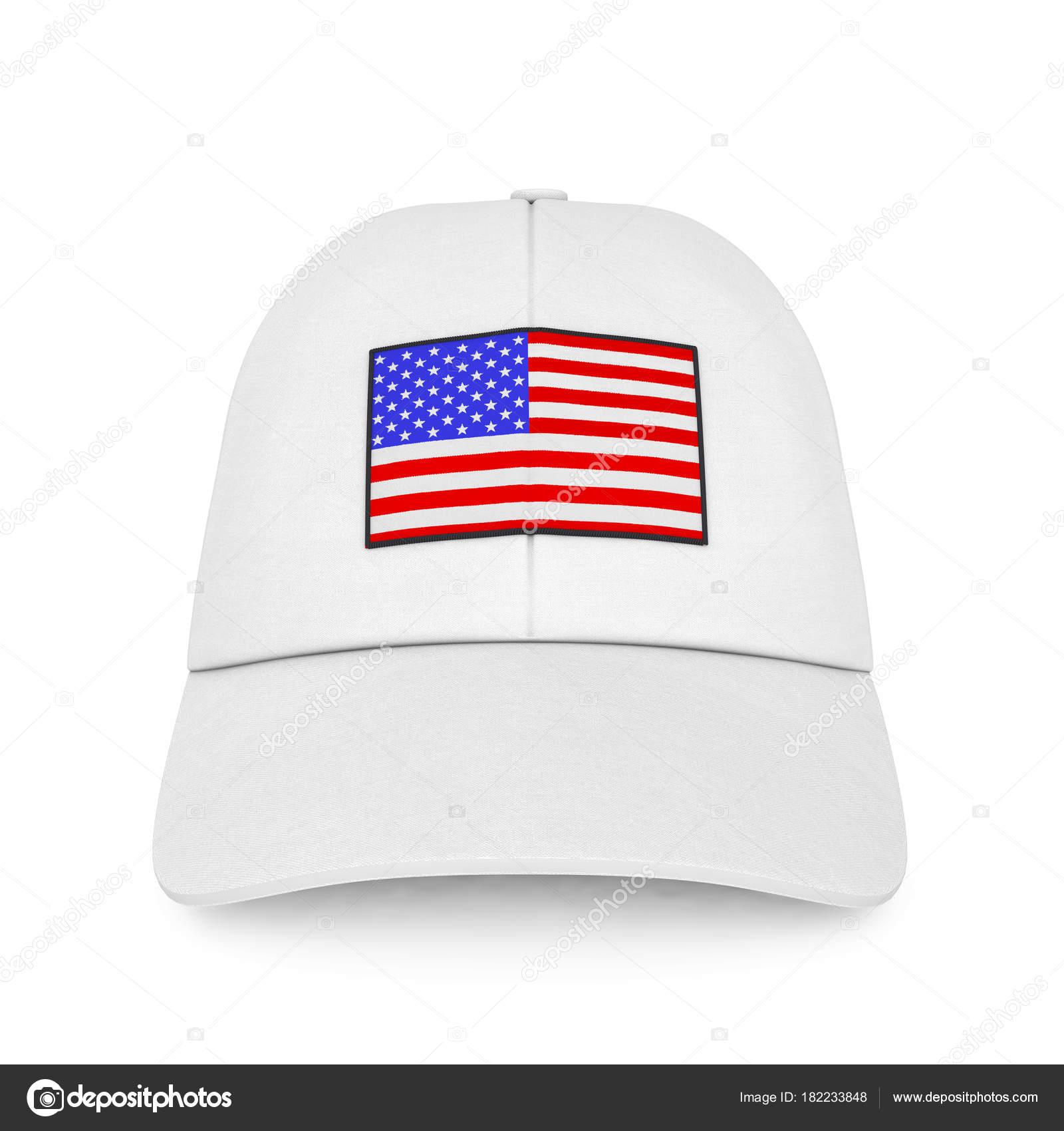 Gorra Blanca con bandera de Estados Unidos. Render 3D — Foto de Stock 47d8b961f3b