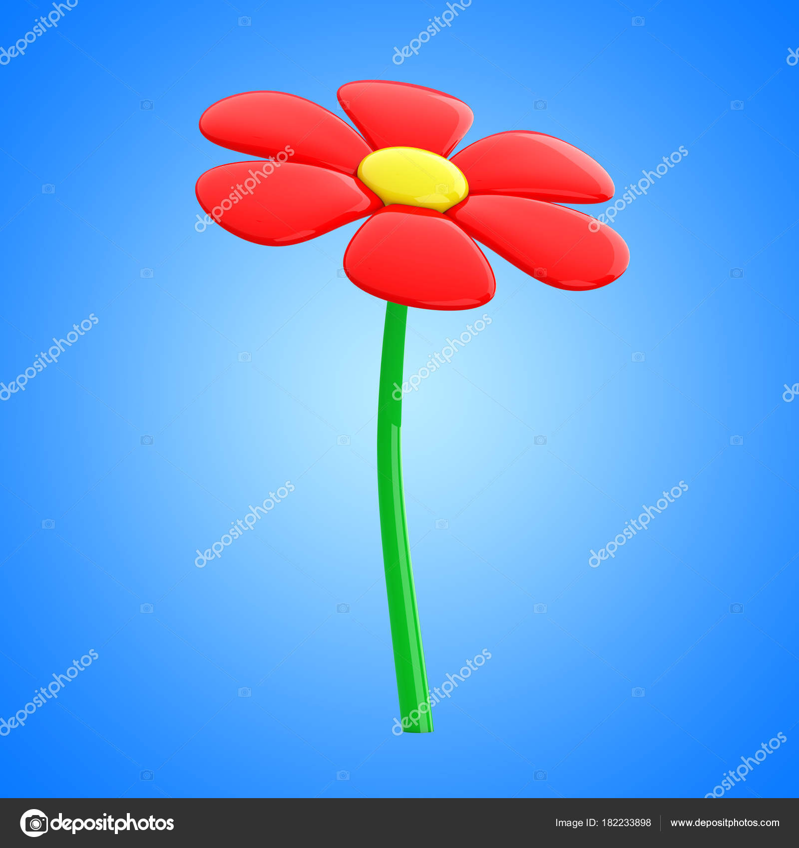 Beautiful red cartoon flower 3d rendering stock photo doomu beautiful red cartoon flower on a blue background 3d rendering photo by doomu izmirmasajfo