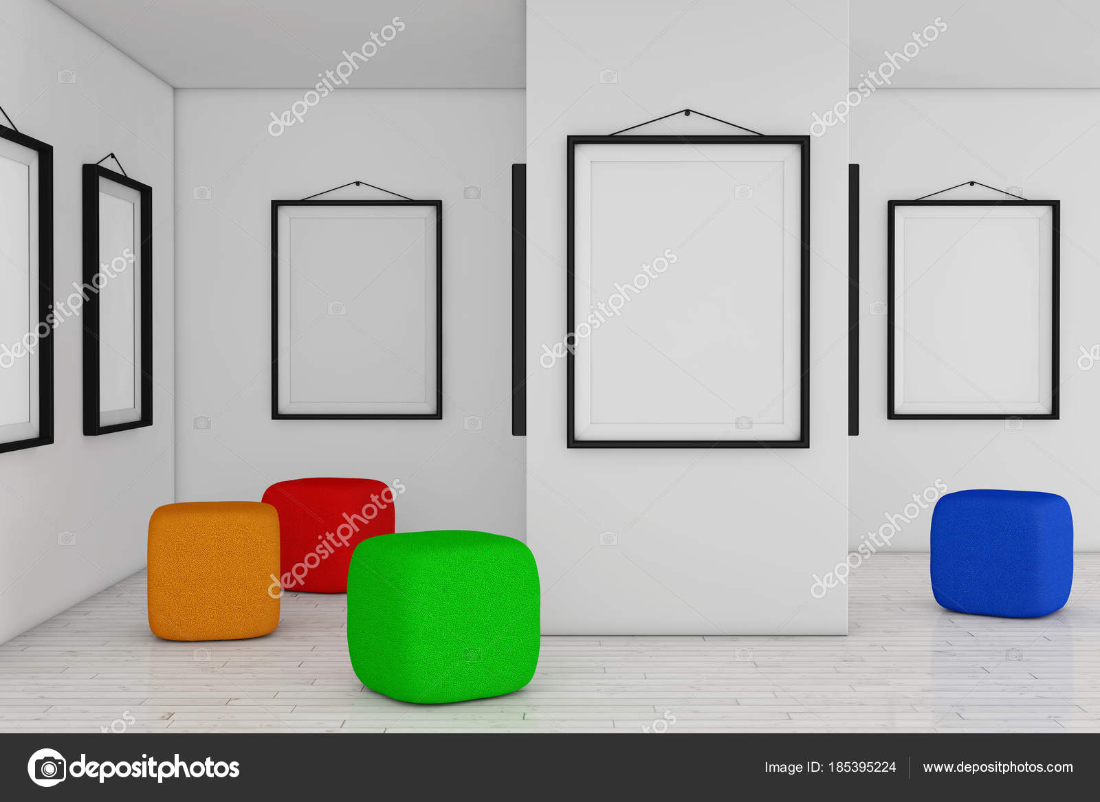 Art Gallery Museum with White Blank Placard Mockup Frames and Co ...