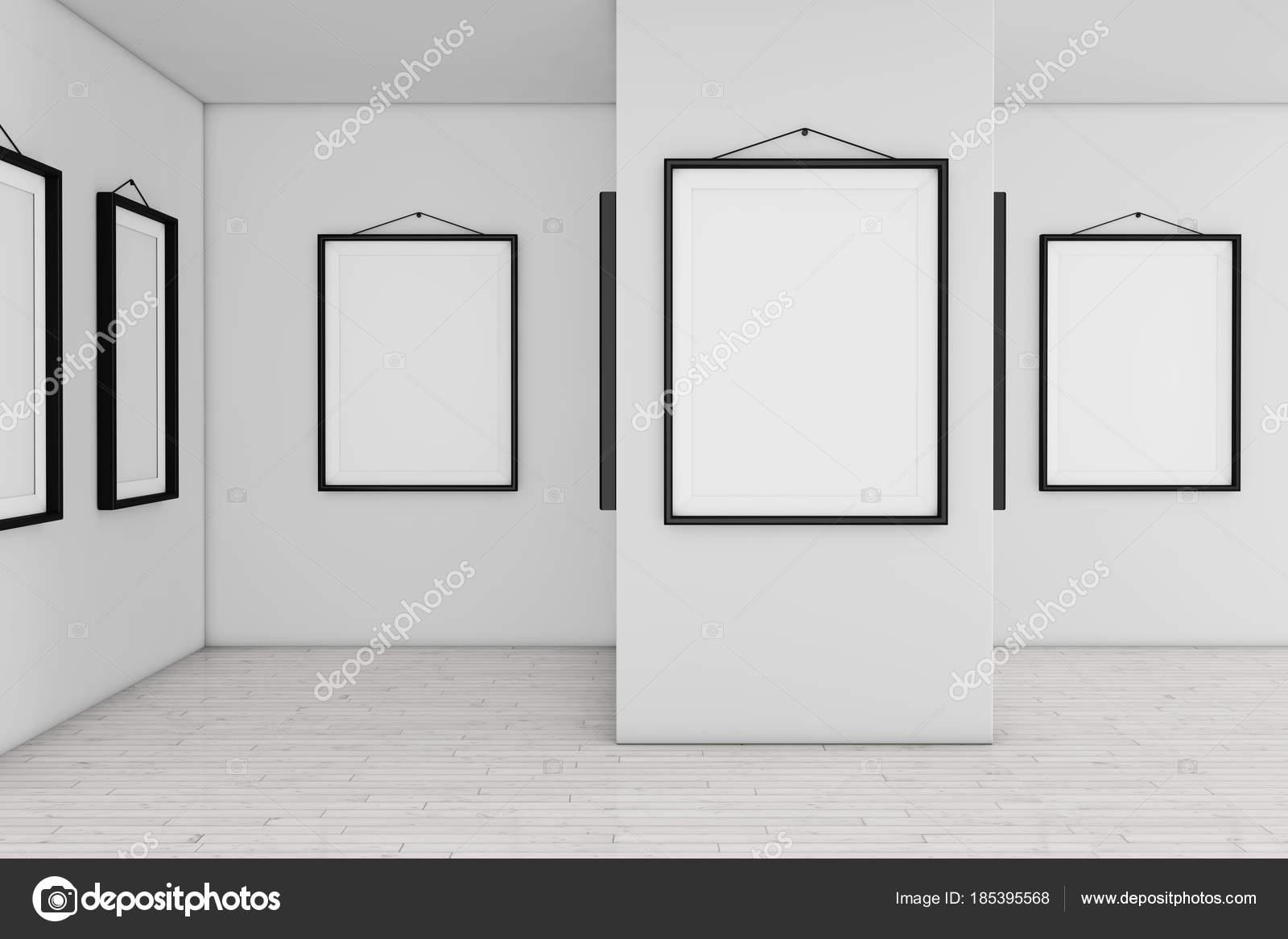 Museo de arte de galería con carteles en blanco blanco maqueta ...