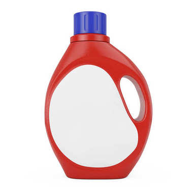 Red Plastic Detergent Container Bottle with Blank Space Label fo