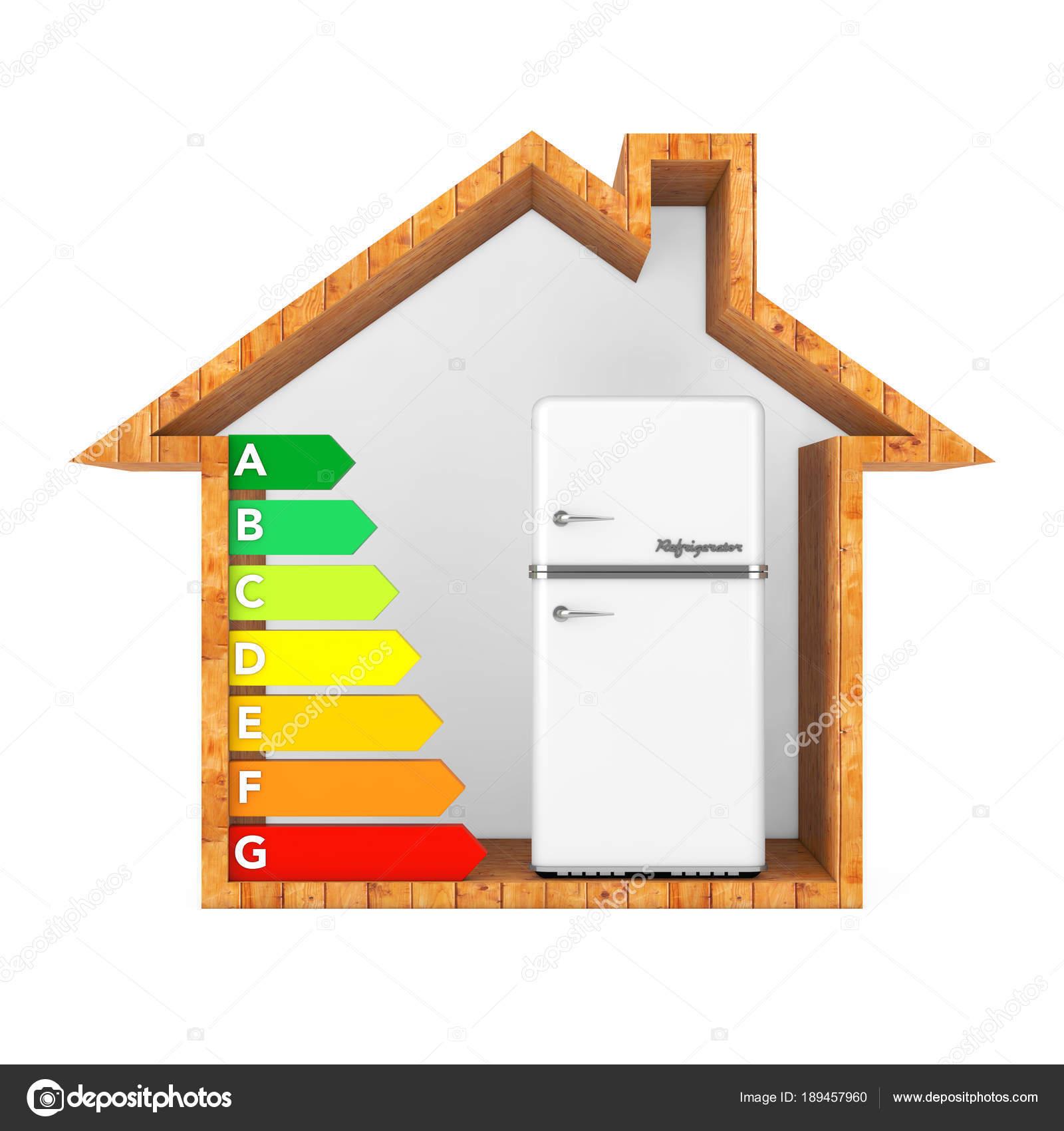 Weißen Kühlschrank mit Energieeffizienz Rating Chart in abstrakten ...