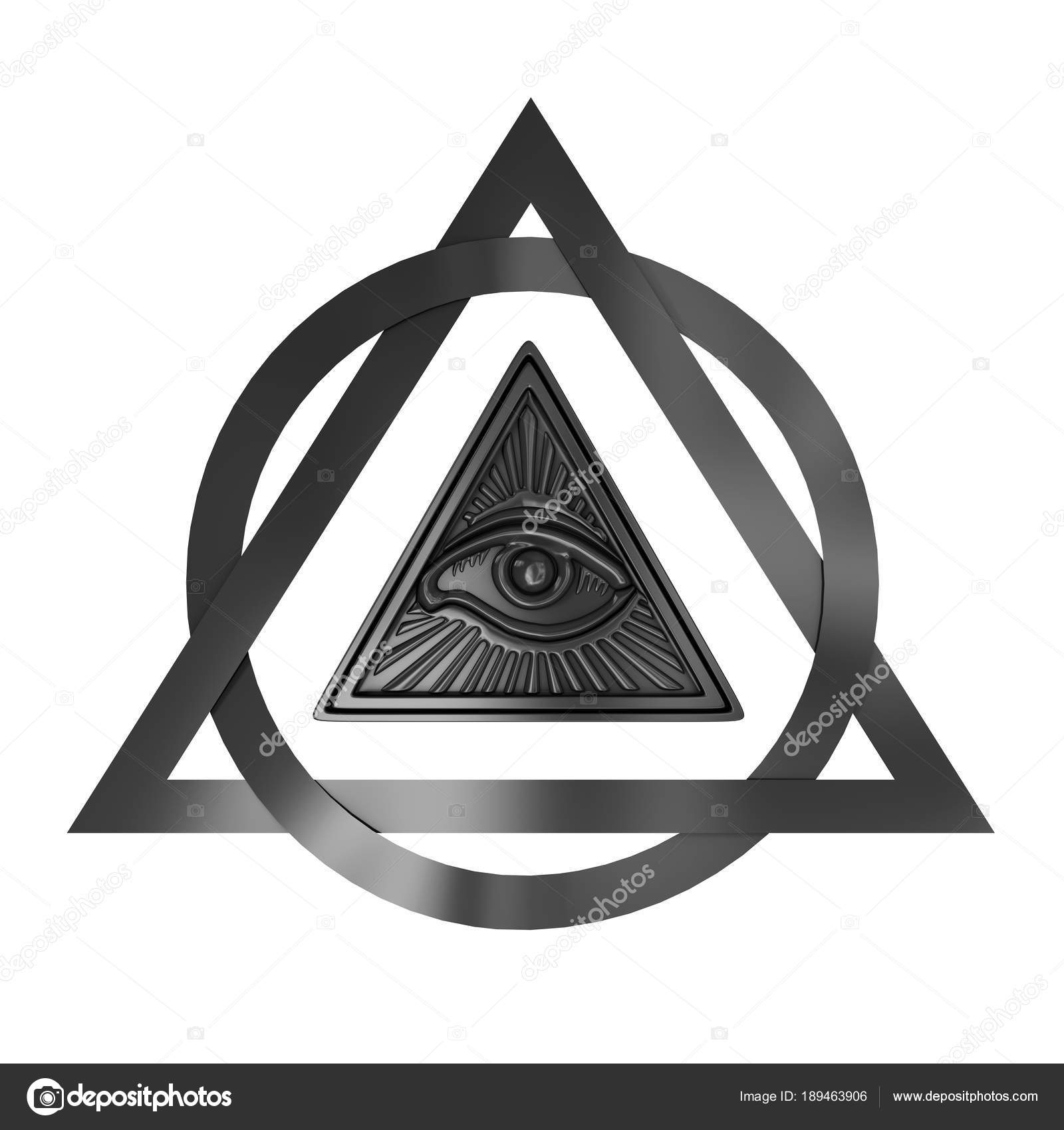 All Seeing Eye Inside Pyramid Triangle On A White Background 3d Rendering Photo By Doomu