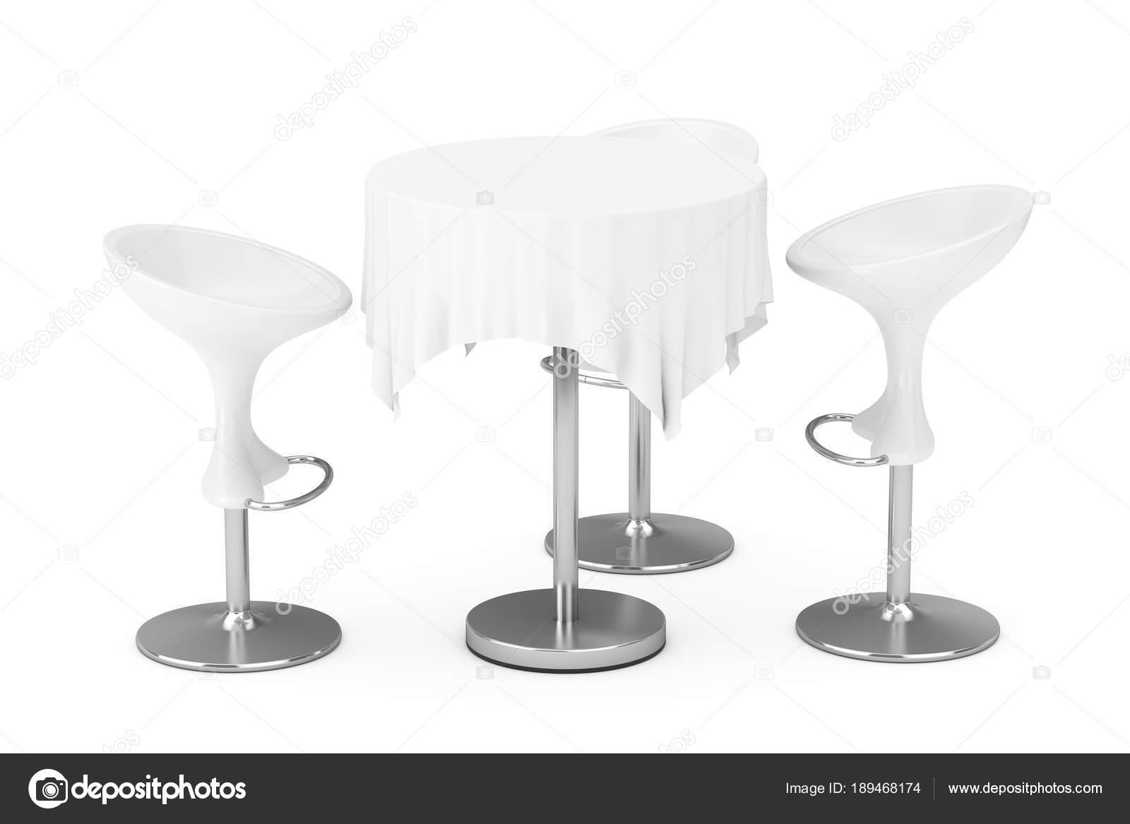 Sgabelli bar moderno bianco con tavolo e tovaglia rendering d