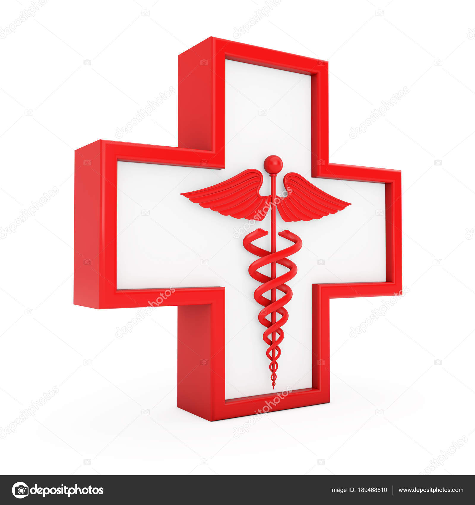 Red Medical Caduceus Symbol In Cross 3d Rendering Stock Photo