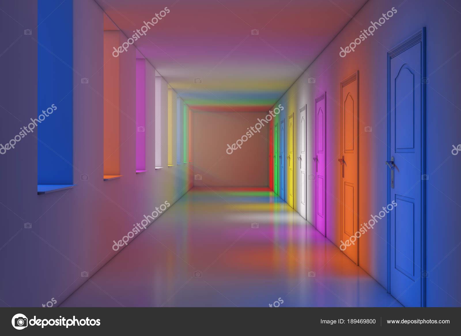 Kleur verlichting in de moderne lange kantoor school hotel of