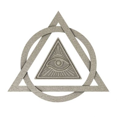 Masonic Symbol Concept. All Seeing Eye inside Pyramid Triangle a