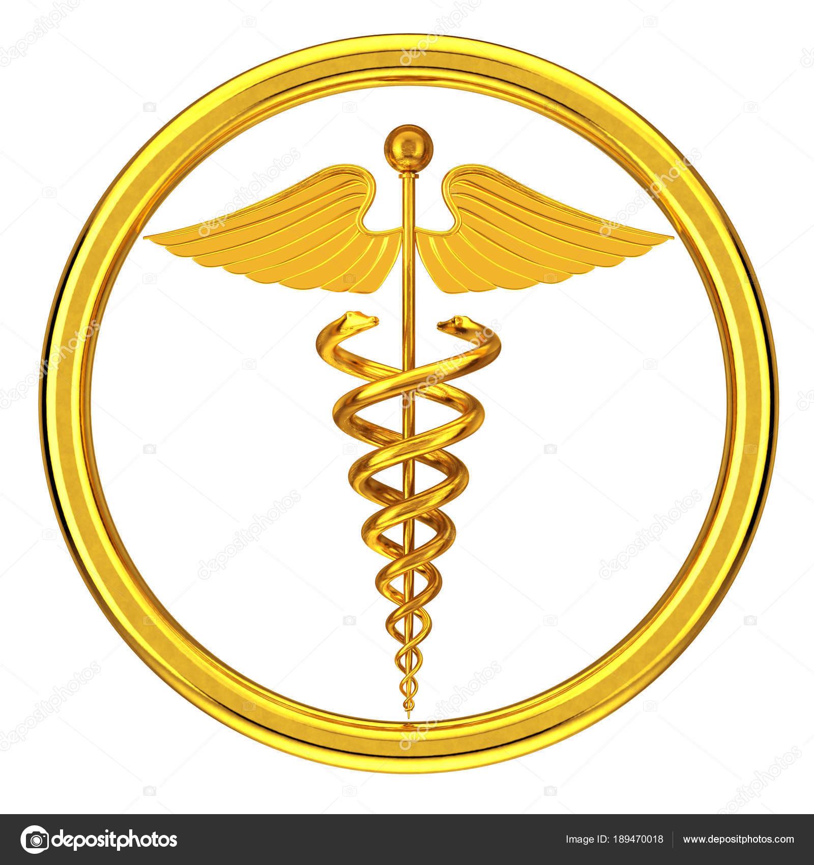 Golden Medical Caduceus Symbol 3d Rendering Stock Photo Doomu