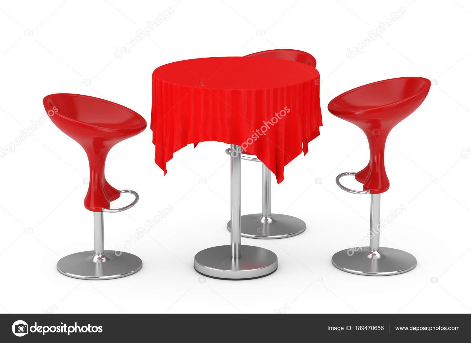 Rosso moderno bar sgabelli con tavolo e tovaglia rendering d
