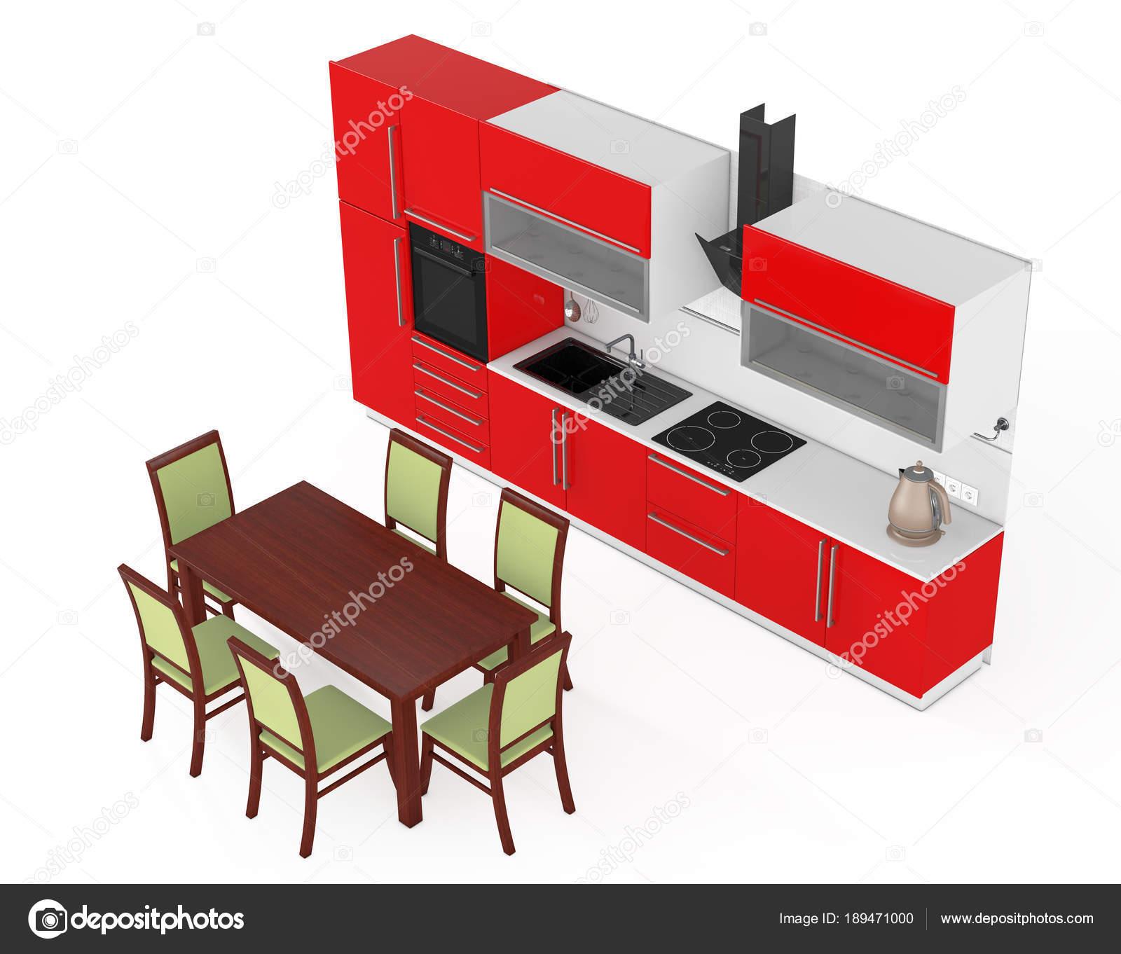 Tavolo e sedie davanti rosso cucina mobili moderni con K — Foto ...