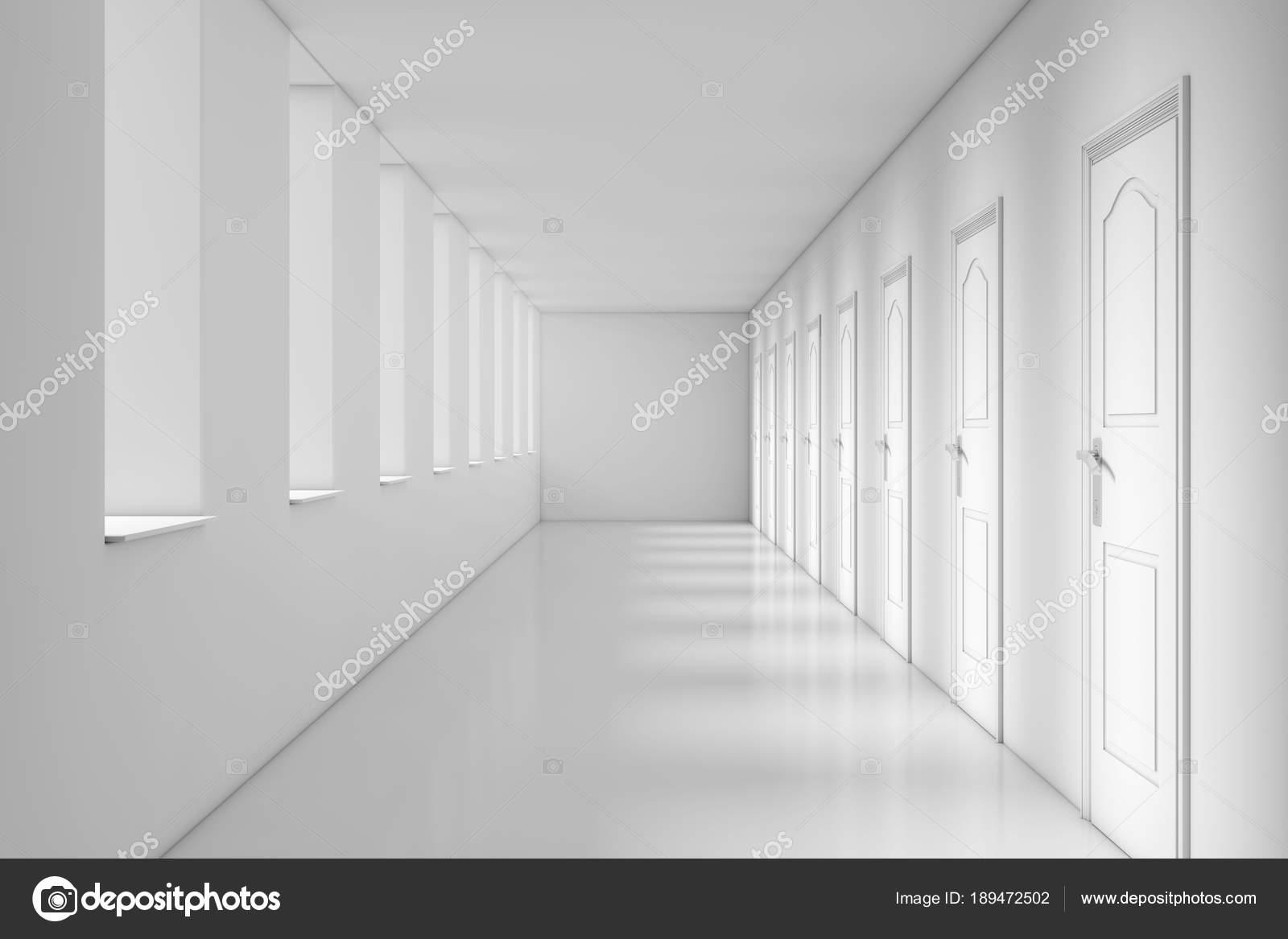 Moderne lange kantoor school hotel of ziekenhuis corridor d