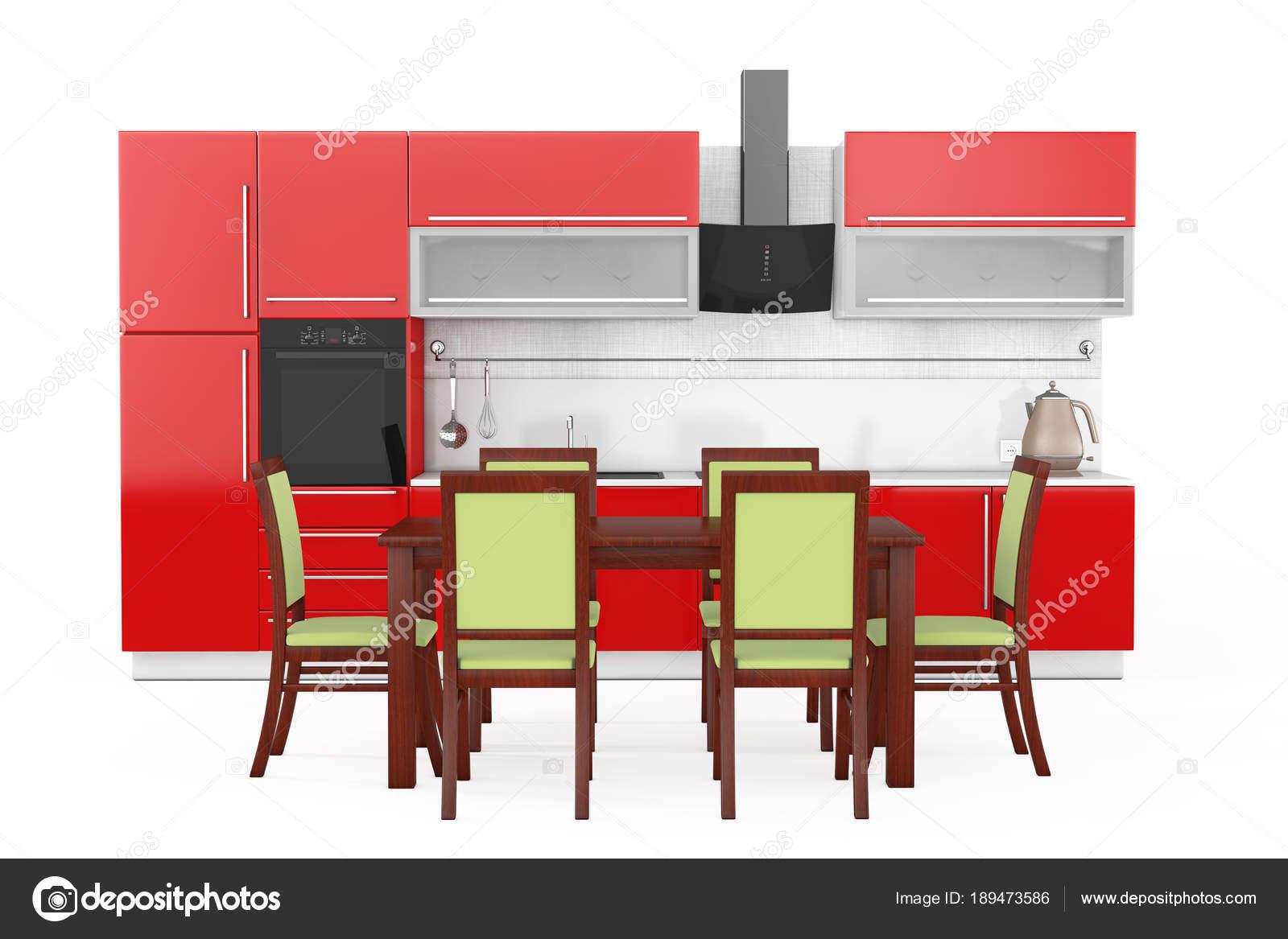 Mesa y sillas frente rojo cocina muebles modernos con K — Fotos de ...