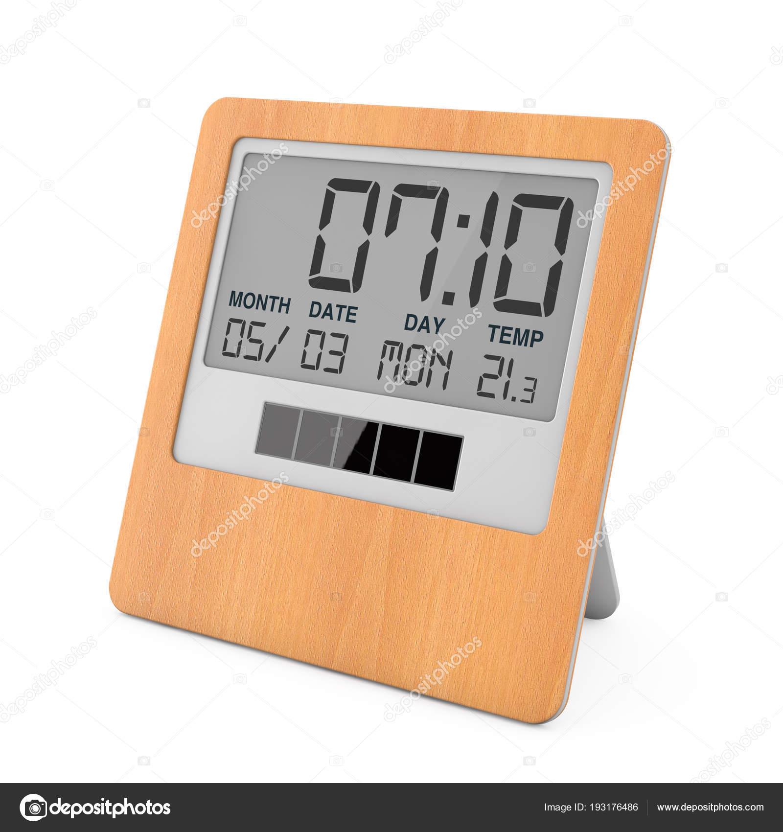 cd13e78a184b93 En bois solaire Digital réveil moderne sur un fond blanc. rendu 3D — Image  de doomu