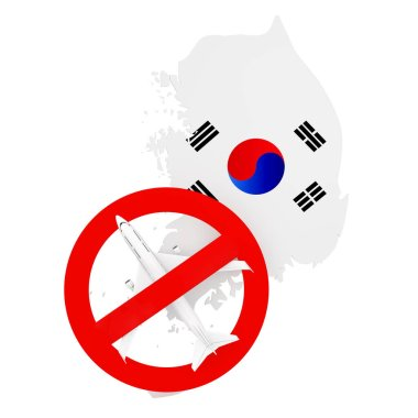 Flight Ban to and from South Korea due to Coronavirus COVID-19. South Korea Map with Flag and Airplane with Red Prohibit Sign on a white background. 3d Rendering