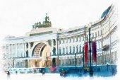 Fotografie kreslení akvarel Palace náměstí Saint Petersburg
