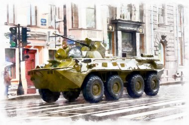 the watercolor drawing military equipment on the streets Russia