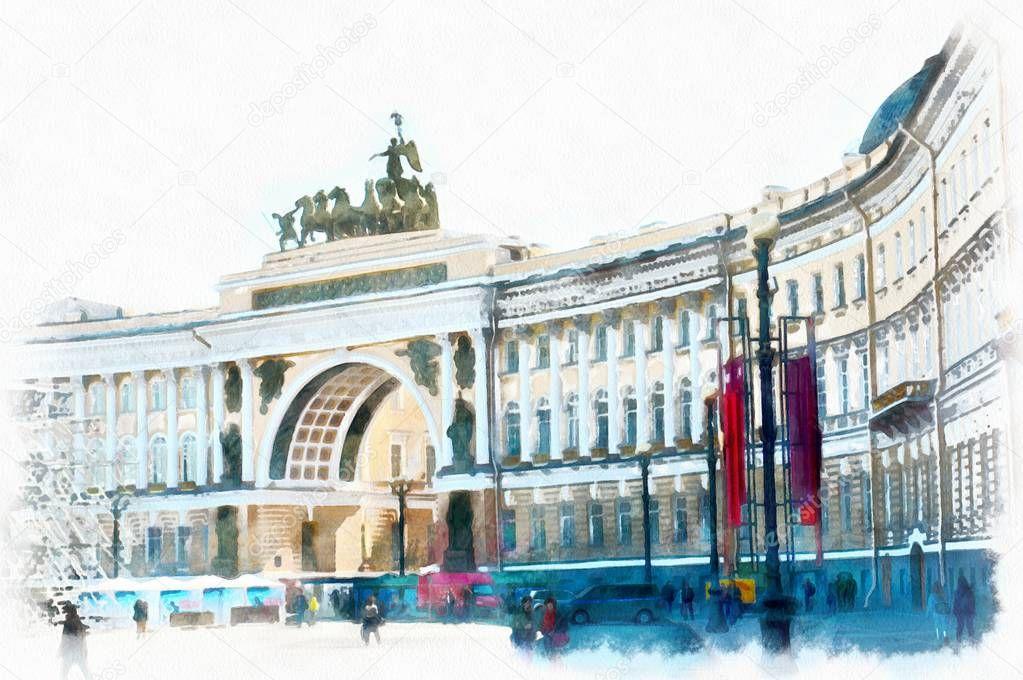 drawing watercolor Palace square Saint Petersburg