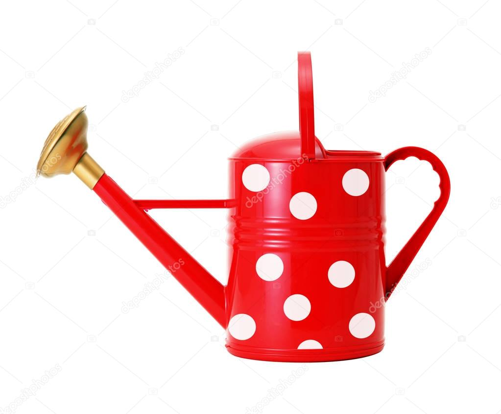 red polka dot watering can isolated on white