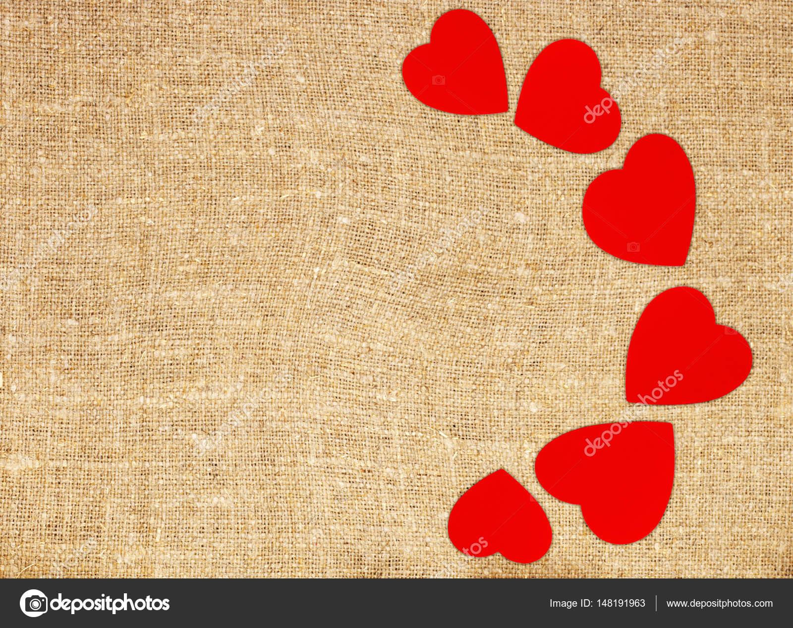 marco de frontera de corazones rojos en saco de lona texto fondo de ...