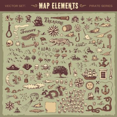 Vintage map elements