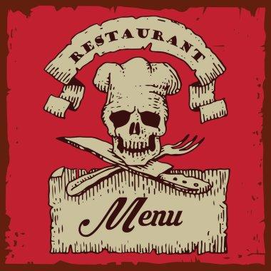 Skull head chef crest illustration menu