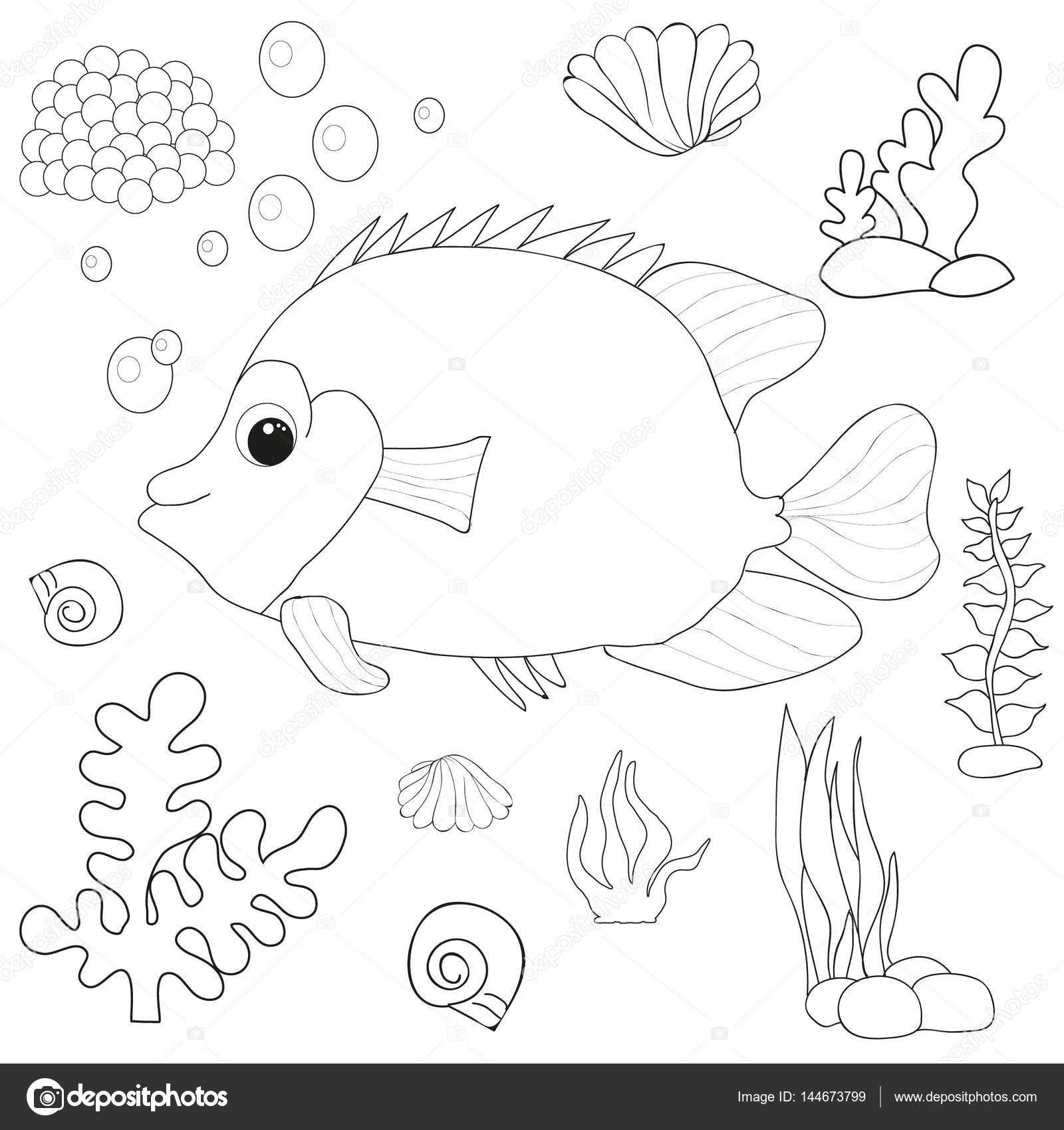 Vector, libro para colorear de peces — Foto de stock © zolotons@mail ...